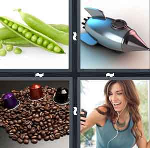 A Pea split open, A spaceship, A bunch of coffee beans with three different colored objects on top of it, and A woman with her headphones in