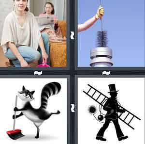Two people cleaning, A person sticking a broom down a chimney, A cartoon animal holding a broom, and A person carrying a ladder and broom wearing a top hat