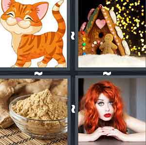 Cartoon Cat Kitten, Gingerbread House, Powder, and Red Hair
