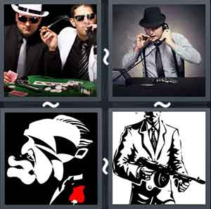 Two men smoking cigars and playing poker, Man smoking a cigar while holding the telephone to his air, Cartoon of an old man, and A suited man holding a gun