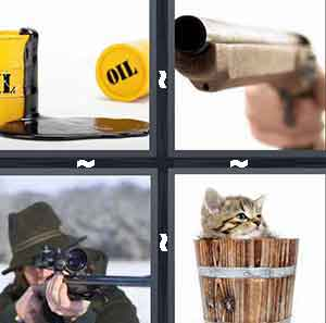 Oil spill, Man shooting gun, Gun barrel, and Kitten in wooden barrel