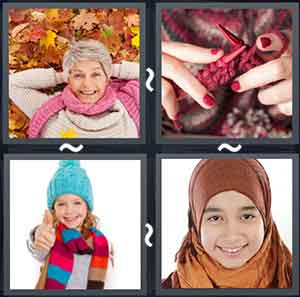 Old lady wearing winter clothes, Person knitting a scarf, Little girl wearing a colorful scarf, and A girl wearing a head covering