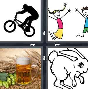 Bicycle, Jumping cartoons, Beer, and Bunny rabbit