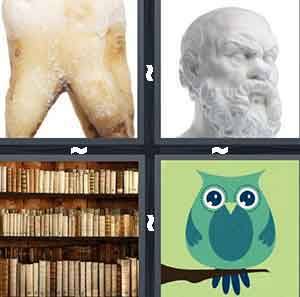 A tooth, A statue of a man with a beard, A bookshelf, and A cartoon picture of a blue owl