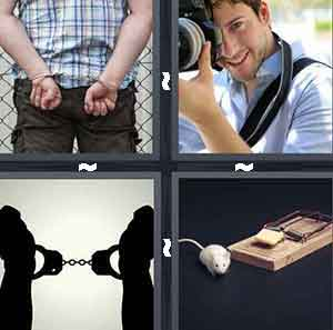 Handcuffed person, Person shooting picture with camera, Handcuffs, and Mouse trap