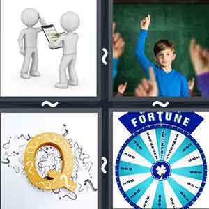 "A person with a pen and a paper talking to another person, A boy with his arm raised in the air, The letter ""Q"", and A round with the word ""FORTUNE"" written on top"