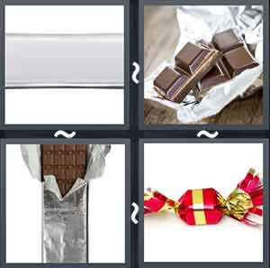 Wrapped chocolate, Chocolates in a wrap, Chocolate opened from the wrapper, and A toffee