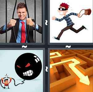 A person in a suit breaking through bars, A cartoon person with a mask on and running with a person, A black ball with an angry face looking down at a cartoon figure, and An orange maze with a yellow line directing