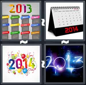 The year 2013 in different colors, A calendar that read 2014 on the bottom in red, A white background with a colorful 2013 written in front of it, and A black background with a blue 2013 written in front of it