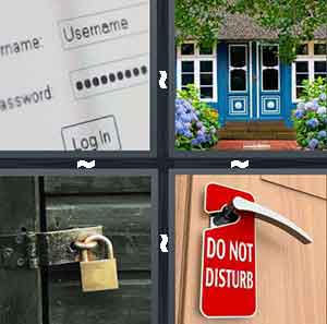 A computer screen with a username and password on it, A blue door that is shut, A green door with a gold lock on it, and A door with a red sign on it