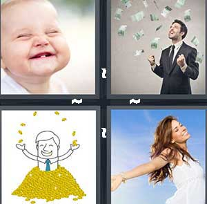 A happy baby, A man throwing money in the air, A cartoon man in a pile of gold, and A girl with her arms open