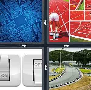 "A blue square object surrounded by different lines, A person getting ready to run on a red track, An ""ON"" switch and an ""OFF"" switch"", and A racing tack for cars"