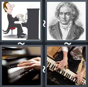 Cartoon playing piano, Sketch of a man, Two hands on a piano, and Man playing the piano