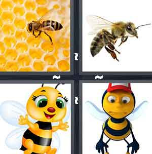 Wasp in honeycomb, Bee, Cartoon yellow jacket, and Bee with red hat