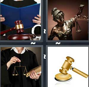 A person reading a blue book, A statue holding the scales of justice, A judge holding scales and a book, and A golden gavel