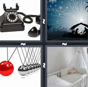 Black telephone, Night landscape with little tent, Silver balls and one red ball, and Baby crib