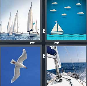 Sailboats in the ocean, White sailboats, A white bird in the sky, and The deck of a boat