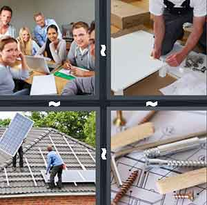 A group of people close together at a desk, A person building something, People installing solar pannels, and A bunch of screws and bolts and wood on top of a piece of paper