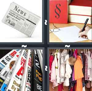 A newspaper, A bunch of red books with someone writing and a pair of glasses, A pile of magazines, and A closet filled with clothes