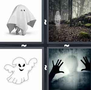 ghost, ghost in forest, cartoon ghost, and human hands