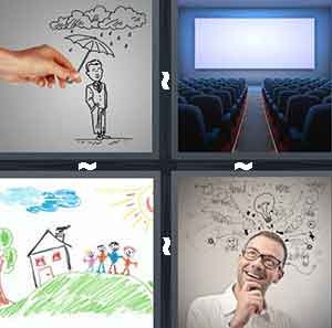 Raining Cartoon, Movie Theater, Kid's Drawing, and Man Thinking