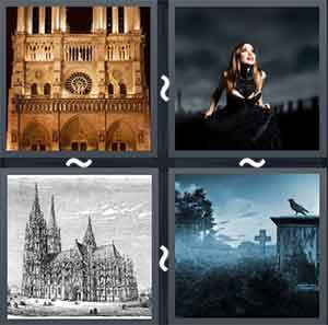 Building with gothic architecture, Woman wearing black clothes, Sketch of an old building, and Crow sitting in a graveyard