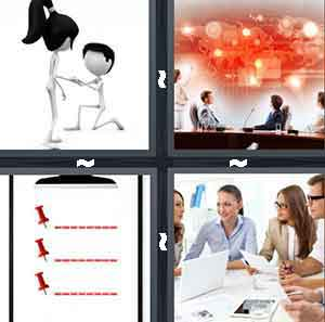 A stick figure on one knee to another stick figure,, People sitting at desks staring at a red board, A white clipboard with red dotted lines and thumbtacks., and A group of people sitting around a white desk with papers in their hands