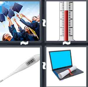 People throwing their graduation caps in the air, A cartoon thermometer, A thermometer, and A computer with a diploma on it