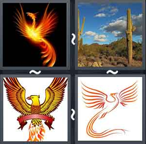Cartoon image of a golden bird, Two cactus plants in a desert, Cartoon image of bird on fire, and Image of a bird