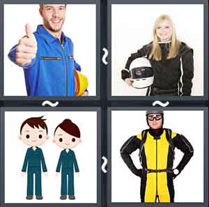 Man in a jumpsuit giving a thumbs up sign, Girl wearing a black jumpsuit and holding a helmet, Cartoon humans wearing jumpsuits, and A man wearing a helmet and a black and yellow jumpsuit