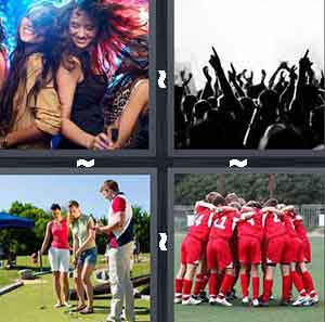 Girls dancing at the club, Crowd of people, Golf club, and Team huddling in red
