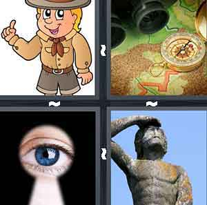 A cartoon drawing oif a man in a brown and grey uniform, A map with a compas on it, An  eye looking through a key hole, and A statue of a person with their hands over their eyes