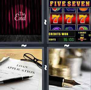 The End on a stage in front of curtains, Gambling slot machine, Loan Application, and Pen and coins change