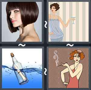 A girl with very short hair, A lady with a bob cut holding a wine glass in her hand, Bottle with a paper inside floating in the water, and Cartoon girl holding a lit cigarette in her hand
