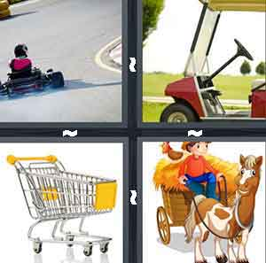 A person driving a toy car, A golf car, A shopping device, and A cartoon horse carrying an object behind them