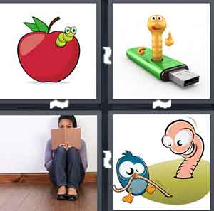 A cartoon apple with a green insect coming out, A virtual animation of an insect on top of a USB Stick, A person reading, and A cartoon figure of a bird and an insect