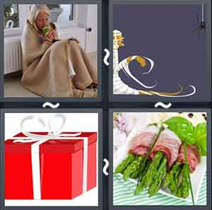 Old man wrapped in a blanket, Cartoon image of a mummy, Gift box, and Sandwich wraps