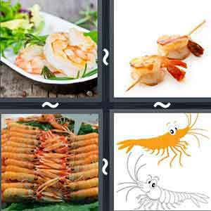 A dish of cooked prawns, Prawns on a skewer, Cooked prawns in a dish, and Cartoon image of two shrimps