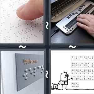 Thumb touching a paper with braille text, Hands working on a keyboard with enhanced keys, A sign written in braille, and Cartoon image touching the braille text