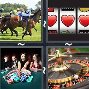 A horse race, A slot machine with 3 hearts, People sitting playing poker, and A roulade wheel with a white ball inside it