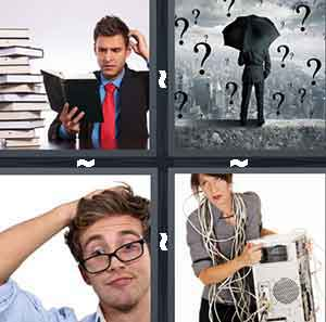 A man in a suit reading a book scratching his head next to a pile of books, A person holding an umbrella with Question Marks falling from the sky, A person with glasses scratching his head, and A Person holding a computer with wires around their body