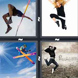 High-jumper, Woman jumping, Ski jump, and Man jumping in street