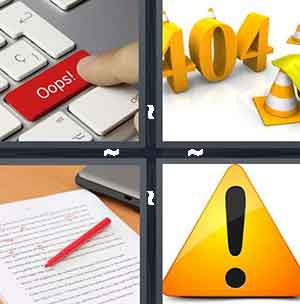 The Oops! Red button a keyboard, Yellow cones and 404, A red pen and a marked up paper, and A bold exclamation mark