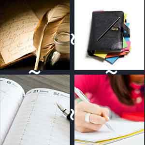 A feather and papers, A black diary, An open diary and a pen, and A person writing in a diary