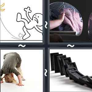 A cartoon image trying to save itself from slipping, A mirror, A person performing somersaults, and Tumbling black objects