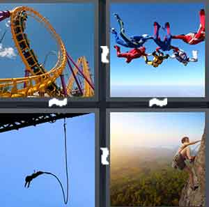 A tall rollercoaster, A bunch of people skydiving, A person bungee jumping, and A person climbing the side of a mountain