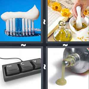 A toothbrush, A cookbook and some vinegar and a person stiring, Three buttons from a keyboard, and A tube with some green liquid coming out of it