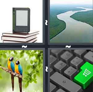 A computer device on top of books, A water pathway next to the woods, Two birds on a branch, and A computer keyboard with a green key