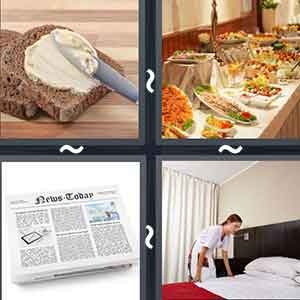 Butter being spread on the bread by a knife, A table full of food dishes, A newspaper, and A lady fixing the sheets on the bed