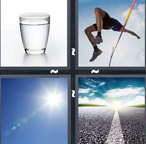A glass of water, A high jumper, A sunny day, and An open road